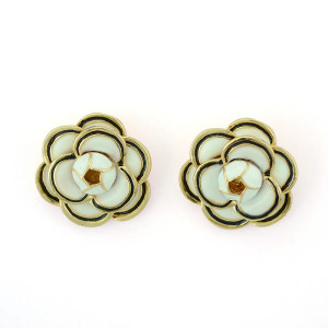 E-3383 Fashion Style Gold Plated Alloy Enamel Flower Earrings Ear Stud