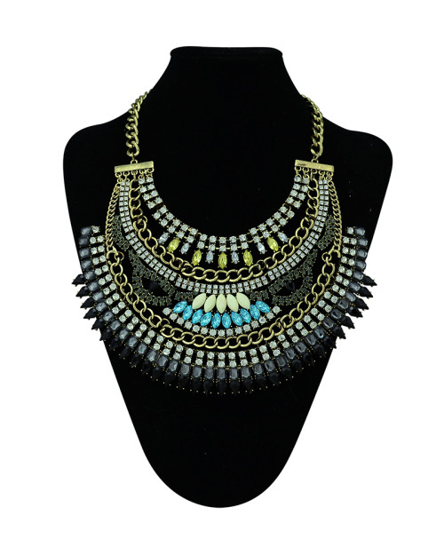 N-5310 Fashion Alloy Bronze Link Chain Multilayer Crystal Necklace