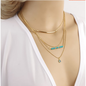 N-5303 European Style gold plated alloy multi-element turquoise beads multilayer copper eye pendant necklace