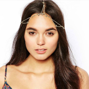 F-0202 fashion style gold plated alloy star simple chain headbands hair jewelry