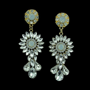 E-3376 Fashion Jewelry Gold Plated Crystal Rhinestone Flower Drop Dangle Earrings