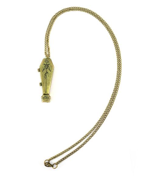 N-5013 Vintage Style Alloy Box Jack Skellington Coffin Pendant Necklace