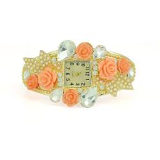 B-0446 European Fashion Style Wide Gold Bangle Watch Rhinestone  Alloy Bracelets wristwatch