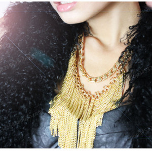 N-5323 European and American style luxury exaggerated golden tassels lady  bridal jewelry necklace