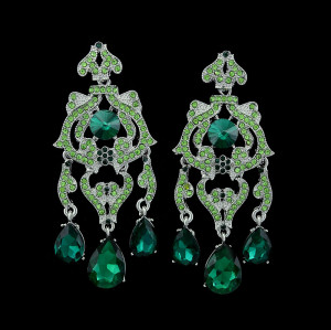 E-3385 Fashion Jewelry Silver Plated Zircon Crystal Rhinestone Flower Drop Dangle Earrings