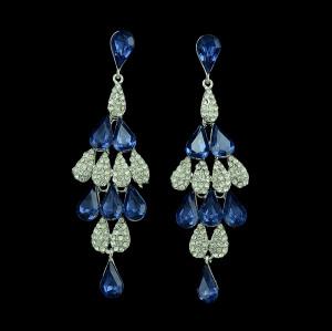 E-3384 Fashion Jewelry Silver Plated Zircon Crystal Rhinestone Flower Drop Dangle Earrings