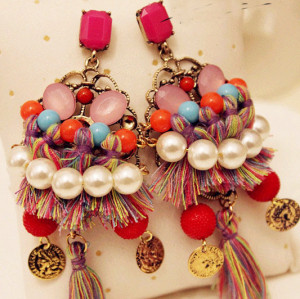 E-3375 Bohemian National design jewelry colorful gemstone beads coin earrings