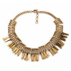 N-5320 European vintage gold hollow out flat chain square chain tassels necklace