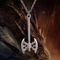 N-5322 European style silver plated alloy hobbit axe pendant men necklace