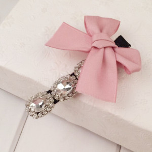 F-0211 new arrival charming crystal rhinestone the bride hair accessory hair pin pink bow hairpin jewelry