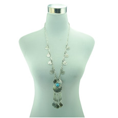 N-5332 European vintage style silver plated alloy tassel coin necklace