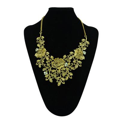 N-5330 European retro style alloy rhinestone butterfly leaves flower choker bib necklace