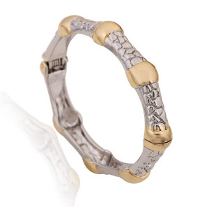 B-0412  9 Styles Vintage Silver Golden Wide Chain Simple Pearl Bead Pattern Cuff  Bangle Bracelet 9 Design