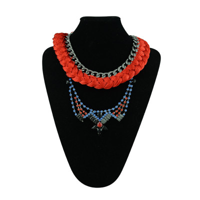 N-5337 European vintage fashion alloy crystal gemstone colorful red rope necklace