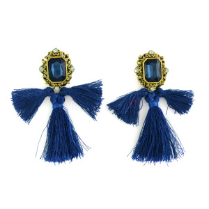 E-3389 European Style vintage gold plated alloy square gem stone rhinestone crystal thread fringe tassel long earrings