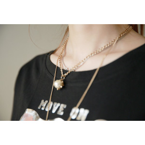 N-5336 Korean fashion style double pearl chain alloy pearl pendant necklace