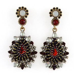 E-3392 2015 Vintage Bohemian Style Red Black Blue Crystal Water Drop Gold Plated Rhinestone Big Dangle Earrings For Women Fashion Jewelry