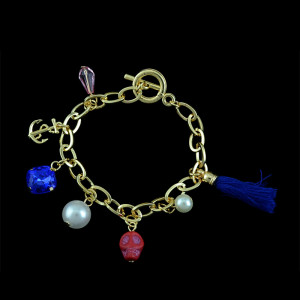 B-0444 European and American style gold plated alloy skull chain pearl gem bracelet
