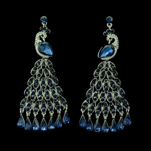 E-3399 European style gold plated alloy full rhinestone vivid peacock luxury statement large earrings