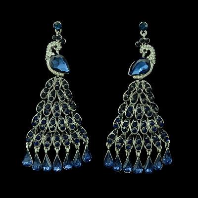 E-3399 European style gold plated alloy full rhinestone vivid peacock luxury statement large earrings