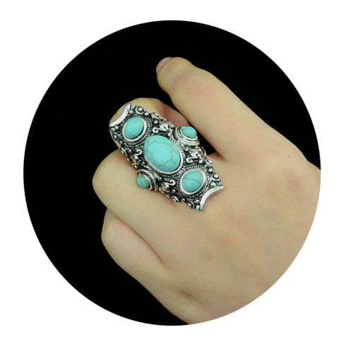 R-1139  Vintage Turkish Silver Custom Carving Antique Persian Turquoise Ring