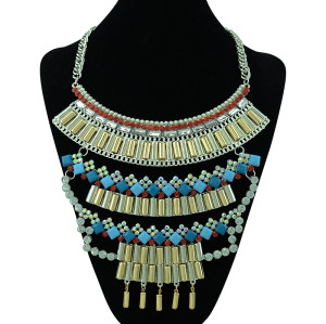 N-5343 vintage style silver plated alloy multilayer resin rhinestone choker necklace