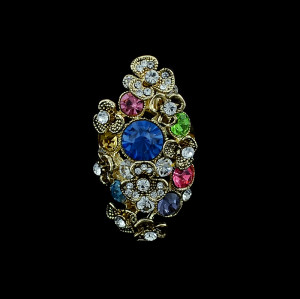 R-1169 Bohemian Style gold plated alloy colorful crystal rhinestone flowers Rings