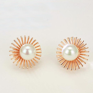 E-3403 fashion style gold plated alloy double flower pearl stud earrings