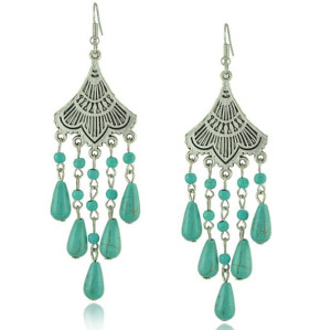 E-3401 vintage style silver plated alloy fan shape drop turquoise dangle earrings