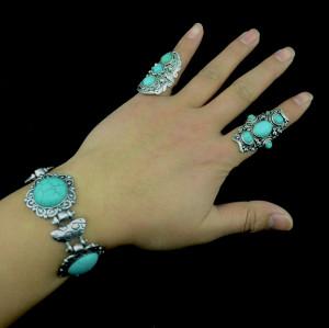 B-0443 Fashion vintage silver carving flower turquoise gem stone ethnic boho statement bracelet for women