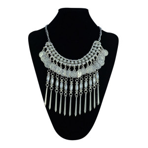 N-5355 Bohemian Tibetan silver plated round charms coins tassel crystal choker necklace 3 colors turkish boho