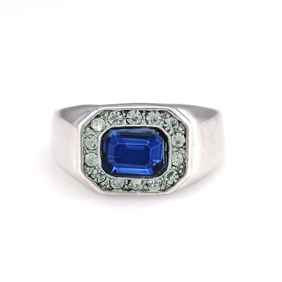 R-1177 fashion style silver plated alloy blue crystal clear rhinestone men rings 4 sizes