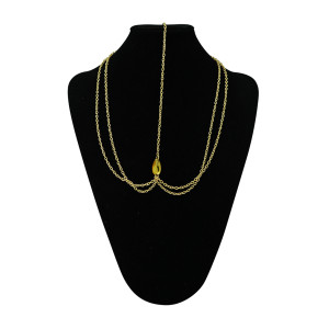 F-0215 European Style Gold Plated Chain Yellow Drop Crystal Hairband