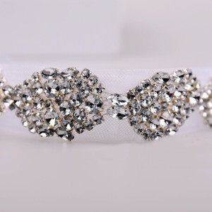 F-0169  korea style brillant rhinestone crystal ornament withe lace hait band bridal hair accessories