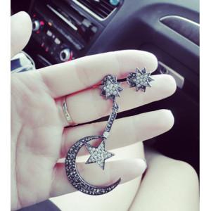 E-3415 Korean style alloy exaggerated moon star rhinestones dangle earrings