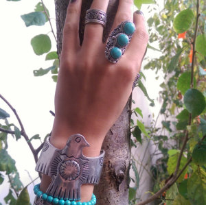 R-1167 Turkish style silver carving metal stone statement turquoise rings