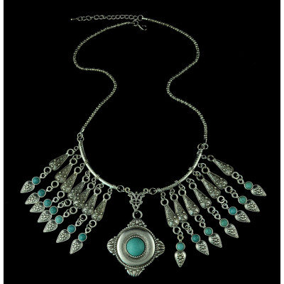 N-5354 fashion style gold plated alloy turquoise tassel necklace 2 styles