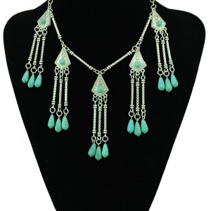 N-5363 Bohemian tibet silver geometric necklaces&pendants turquoise drop beaded tassel necklace turkish jewelry