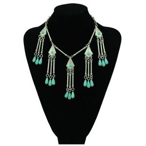 N-5363 Bohemian tibet silver geometric necklaces&pendants turquoise drop beaded tassel necklace turkish jewelry