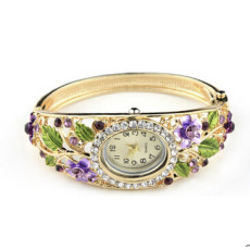 B-0458 Free Shipping Bangle Watches 18k Gold Filled Crystal Flower Women Bracelet Dress Quartz Watch Casual Wristwatch