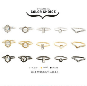 R-1183 fashion korea  gold/silver/gun black 3 colros pearl crystal  ring  5pcs/set midi ring
