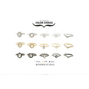 R-1183 fashion korea  gold/silver/gun black 3 colros pearl crystal  ring  5pcs/set midi ring