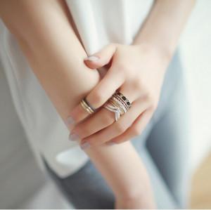 R-1182 fashion korea  black/blue bead bronze silver retro midi  ring  8pcs/set