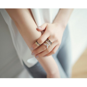 R-1182 fashion korea  black/blue bead bronze silver retro midi  ring  8pcs/set
