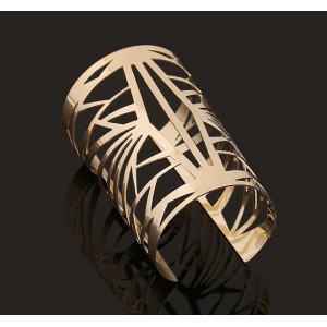 B-0460 Gold opened cuff hollow out bangle women