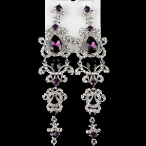 E-3426  European style silver plated alloy crystal rhinestone dangle earrings