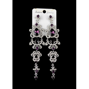 E-3426  European style silver plated alloy crystal rhinestone dangle earrings
