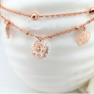 B-0461 Korean 18k rose gold plated chains foot,rose flower anklet for women high quality