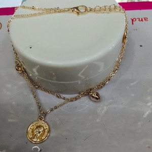B-0474 Korean fashion rose gold plated head double chains anklet bell charm hand chain jewelry