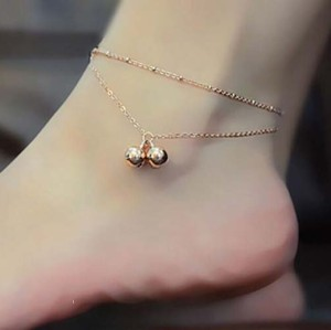 B-0463  Korea style gold plated alloy bell foot anklet